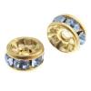 Rhinestone Rondelle (Flat Round) 6mm Gold/light Sapphire